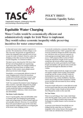 Publication cover - TASC Equitable Water Charging (policy brief) April 2014