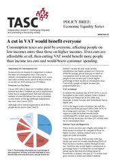 Publication cover - TASC A cut in VAT policy brief